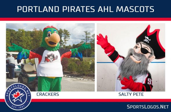 """Crackers"" and ""Salty Pete"" were the mascots of Maine's previous pro hockey team, the AHL's Portland Pirates"