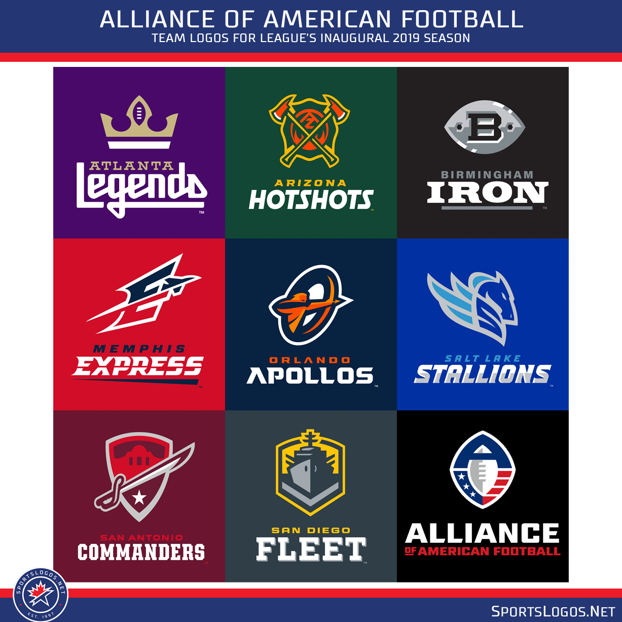 f1bd67a437f Alliance of American Football Team Logos 2019