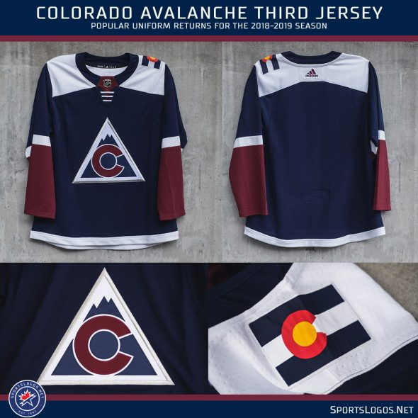 060b422c The base of the jersey is navy blue, much darker than their usual blue home  uniforms, with white shoulders and a Colorado state flag on each.