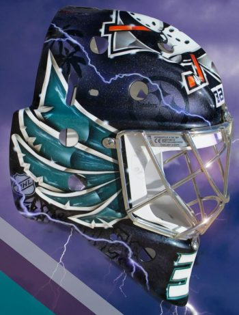 Steelers and Pirates logos among the elements on the side of Gibson's new retro mask (pic: @ShellShockCo)