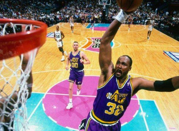 Karl Malone in the purple roads in the 1990s on that sweet fiesta Spurs floor