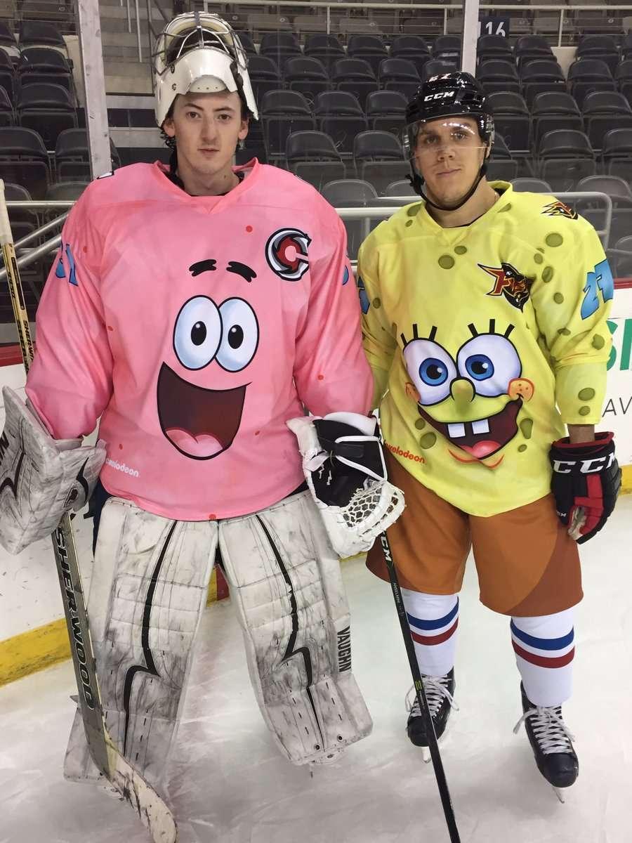 84fbb1a2091 SpongeBob uniforms worn by the Indianapolis Fuel and Cincinnati Cyclones  last season