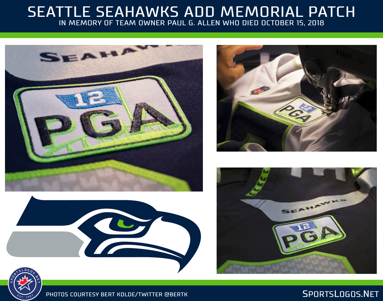 0d29c9cd4 The design is encased in a blue and lime green rounded rectangle and will  be worn on the front-left of the Seahawks jersey above the player number  for the ...