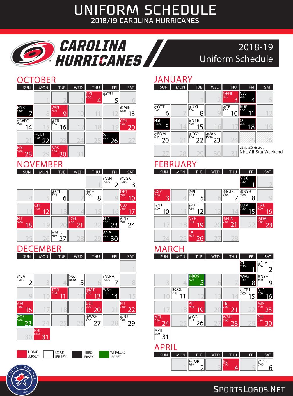 Hurricanes 2019 Schedule Carolina Hurricanes Announce Entire 2018 19 Uniform Schedule