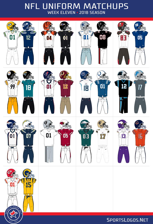c2eda5f8e Here s your Week Eleven NFL Uniform Matchups