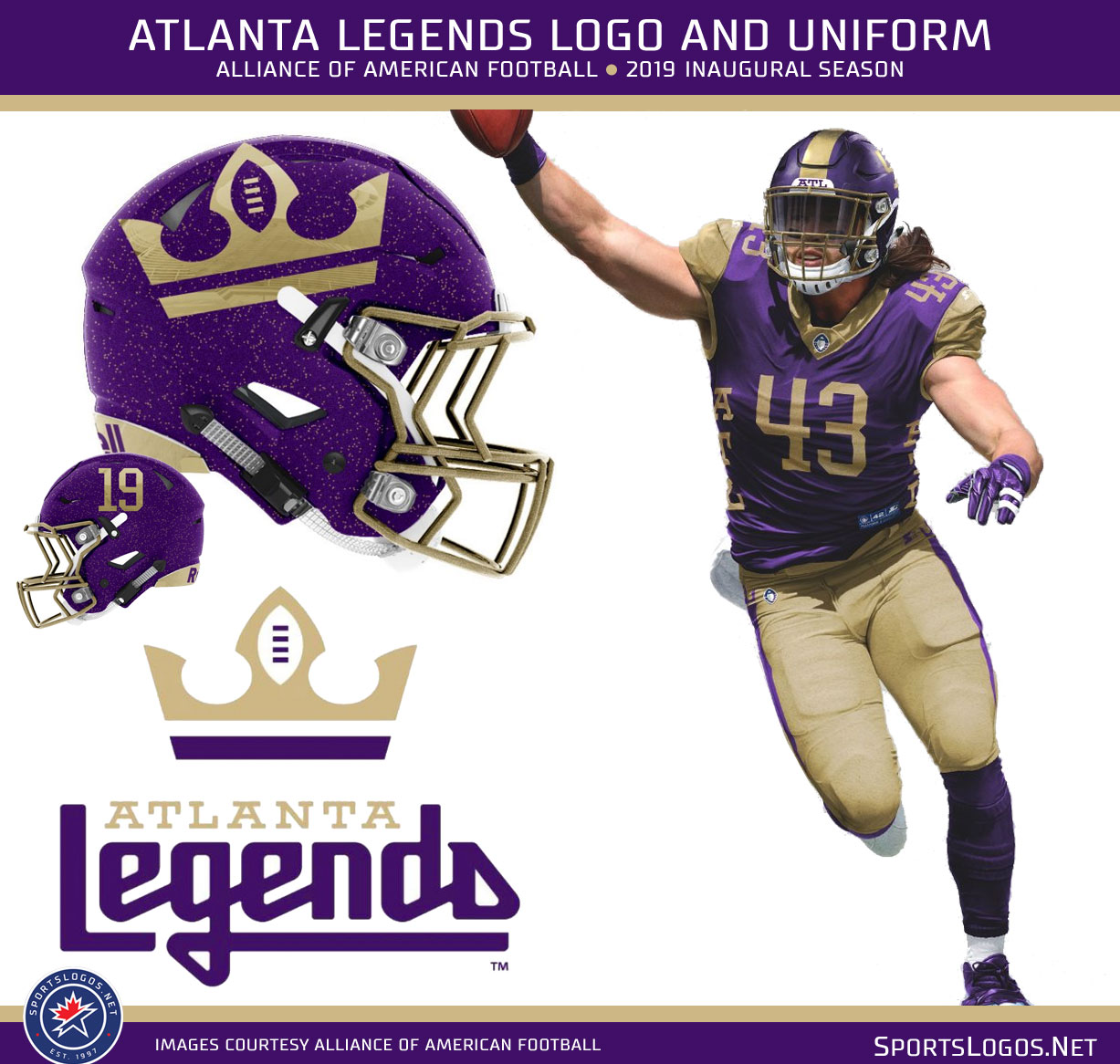 "8a7b5a0c307 The Atlanta Legends wear a crown on their helmet because ""Legends wear  crowns"" as the team Tweeted today. Purple and gold"