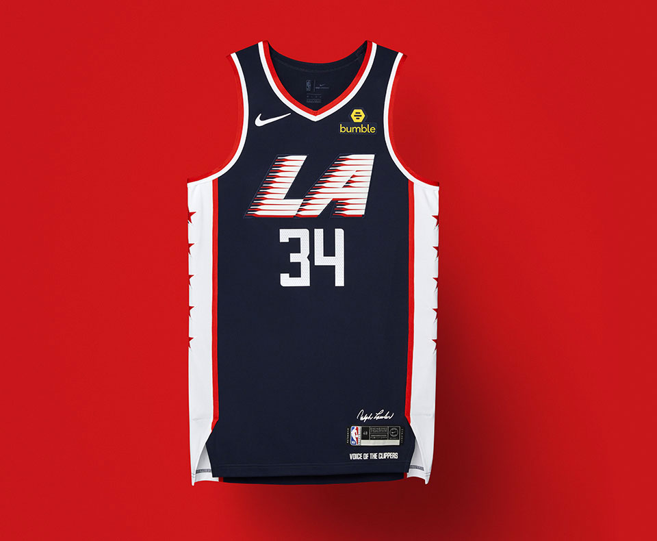 1dae8ed3029 LA's amazing Olympic-inspired City uniform is navy blue with red and white  stripes up each side in honour of the Team USA basketball uniforms worn at  the ...