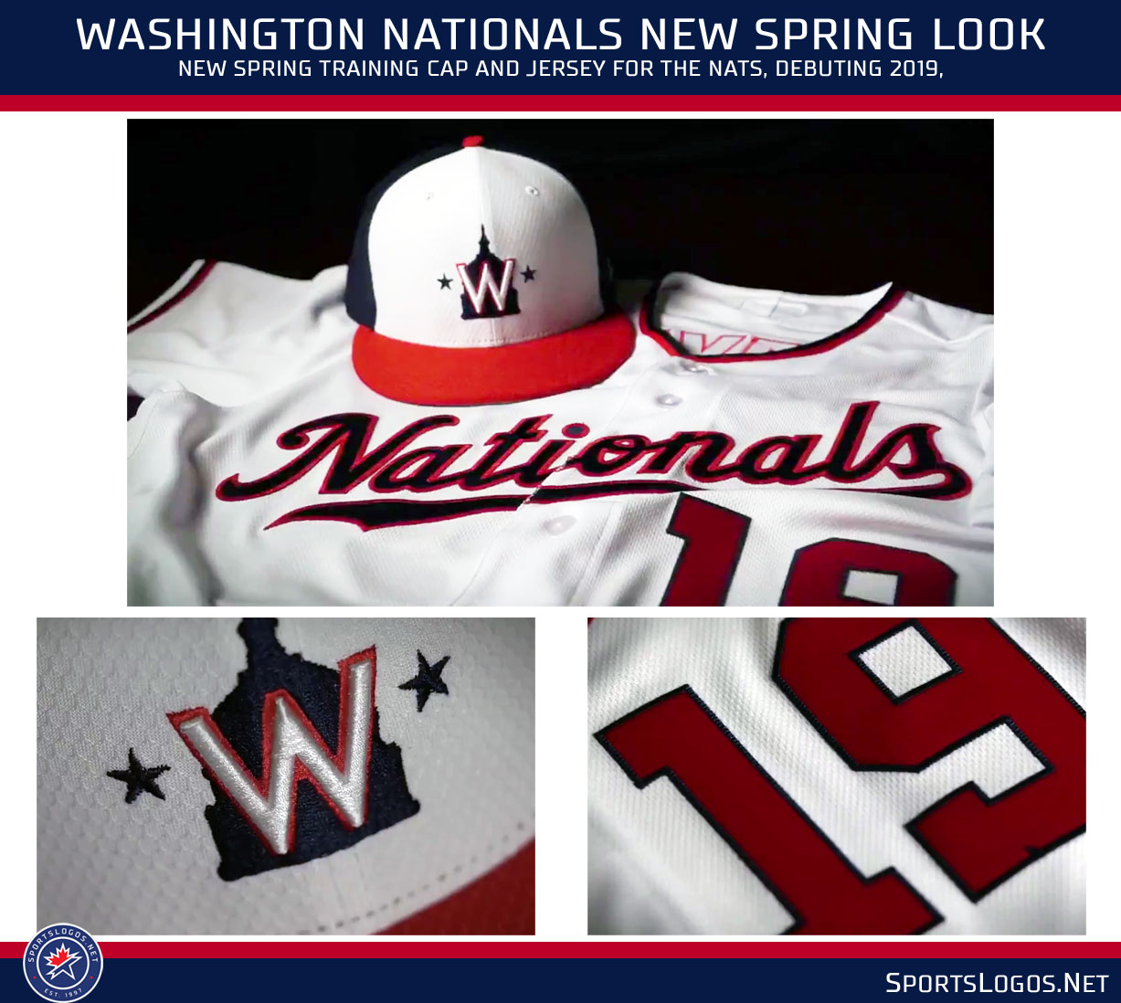 """383f77412b95b2 A departure from past Nats Spring looks, the cap doesn't feature the curly  """"W"""" as it has in the Spring for the last decade, instead we get a throwback  to ..."""