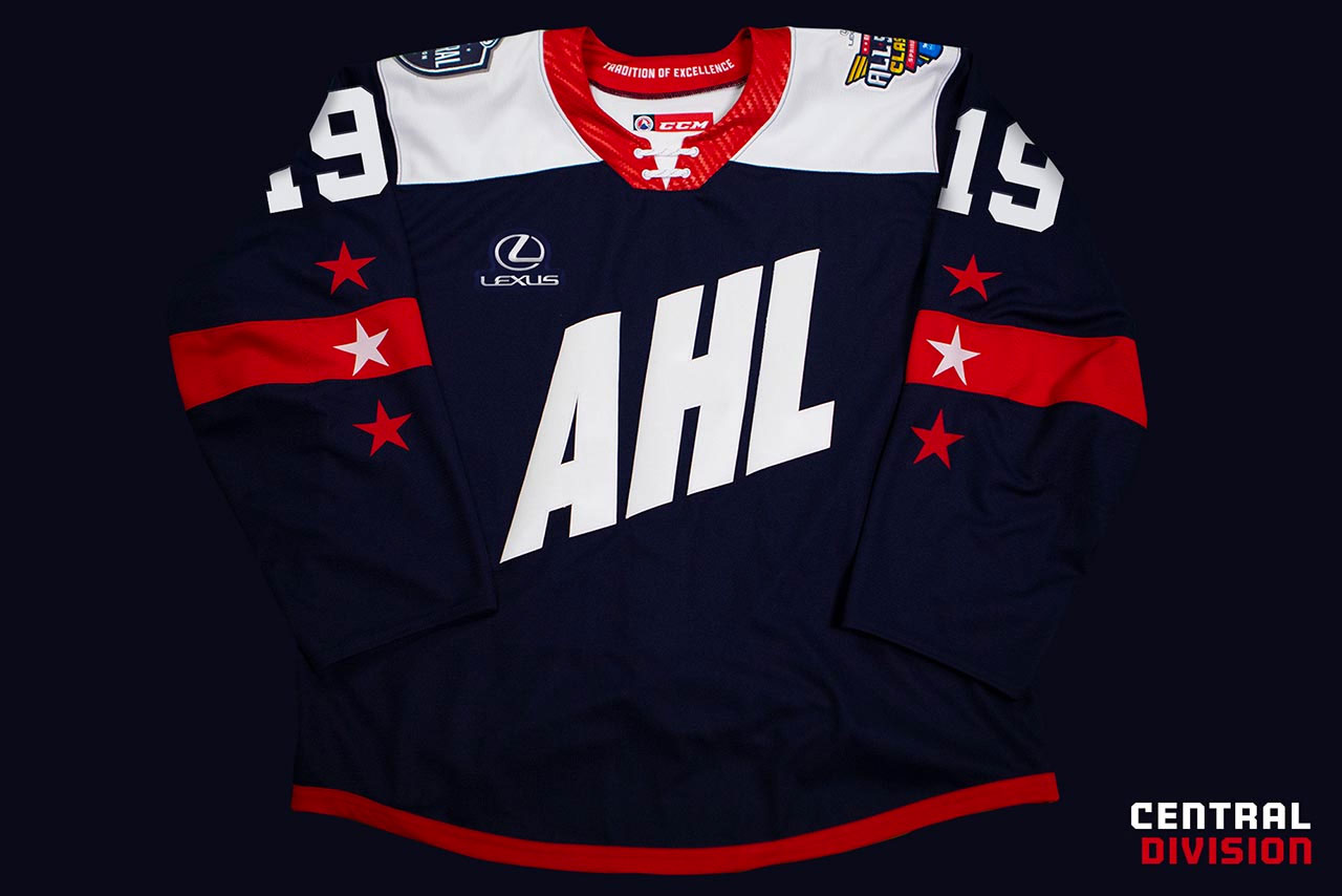 f8433784b1e Each of the jerseys has AHL across the front, diagonal from bottom right to  upper left, three stars and a single stripe on each sleeve, a contrasting  ...