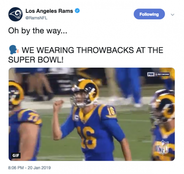 d594895ff16 Los Angeles Rams Confirm Throwback Uniforms For Super Bowl