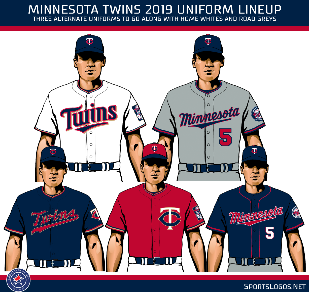 a96786ef7cd None of the other Twins uniforms are set to be altered for the 2019 season,  the home white, road grey, red alternate, and the navy blue alternate will  all ...