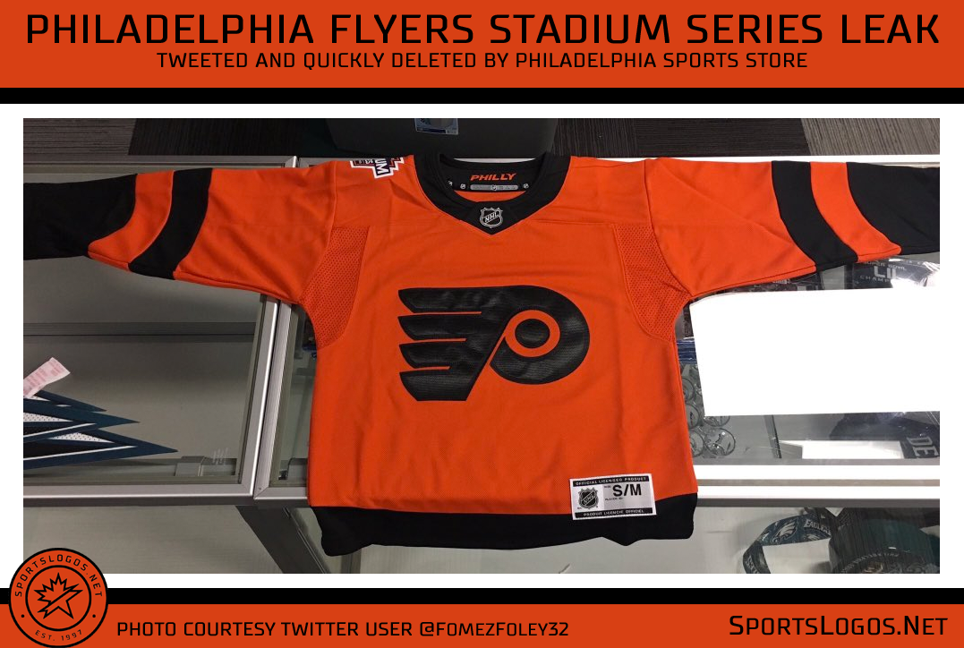 "a9cb1d38e1b Two black stripes on each sleeve and one at the waist, the collar is plain  black with ""PHILLY"" written inside in orange. The 2019 Stadium Series logo  is ..."