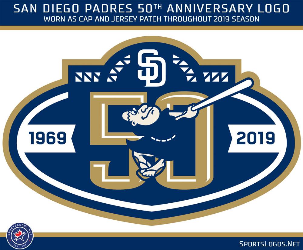 6cafd9ffd36 The Friar Swings Again  Padres Reveal 50th Anniversary Logos