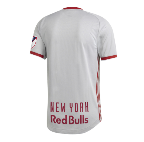 4ae9c240 The Red Bulls go from white to grey on their primary kit, the diagonal white  and silver stripes have been replaced with LOVE FIGHT PASSION GLORY, ...