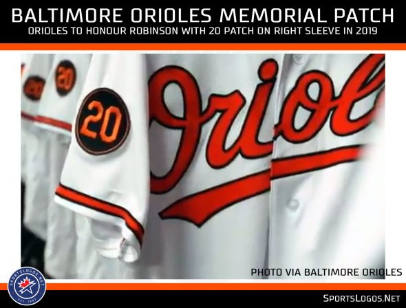32511eab6 The Orioles will honour Robinson with a patch featuring Frank s uniform  number 20 in orange on a black circle on their right sleeve throughout the  entire ...