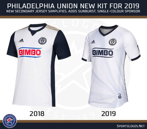 07a9c5901 The Philadelphia Union have eliminated their blue sleeves and striping up  the sides (Adidas striping remains) in favour of a more clean look.