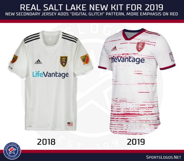 de99fce38 Real Salt Lake goes in the opposite direction of those other teams going  for a simple design adding a digital glitch pattern to their otherwise  plain design ...