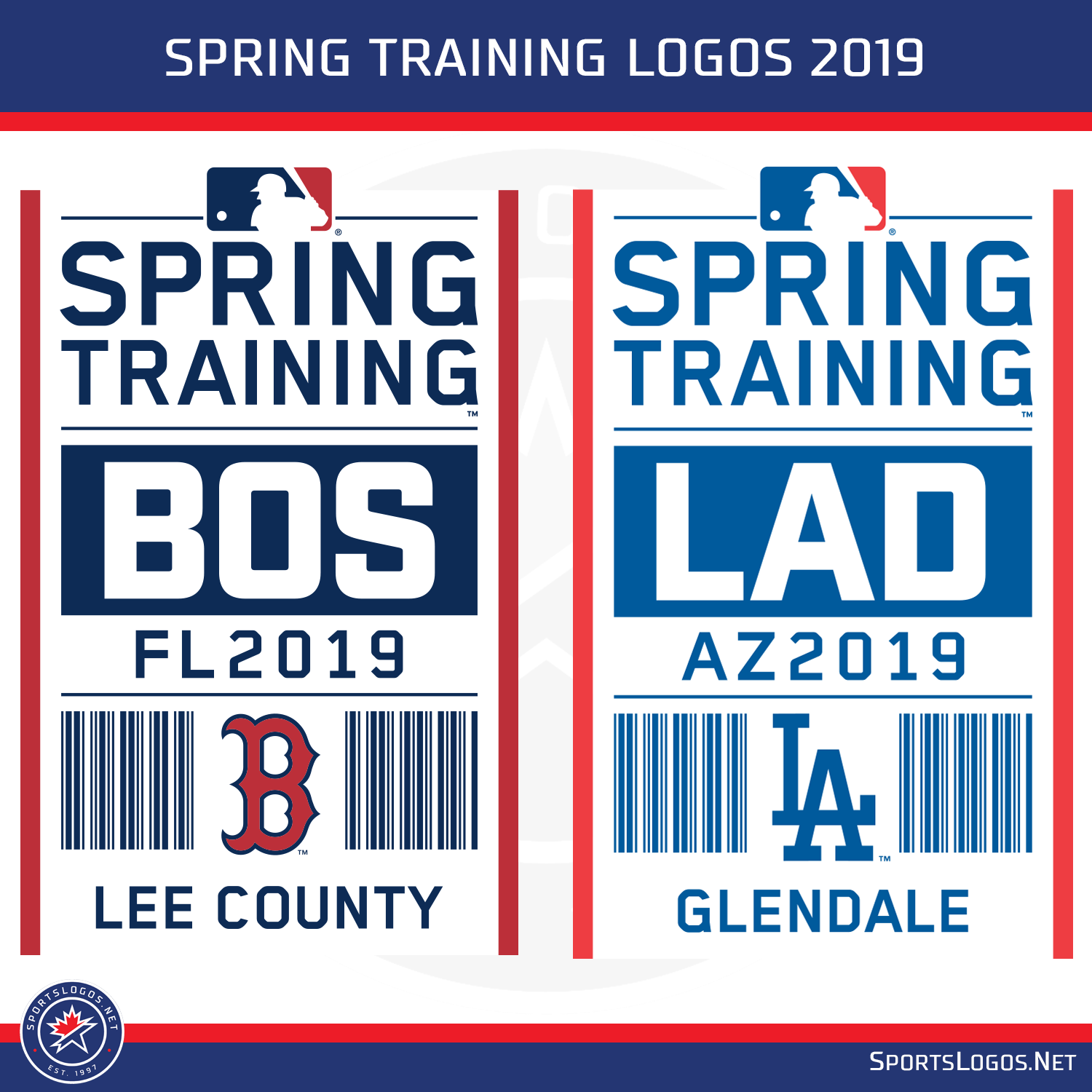 2019 Spring Training Logos and Caps for all 30 Teams