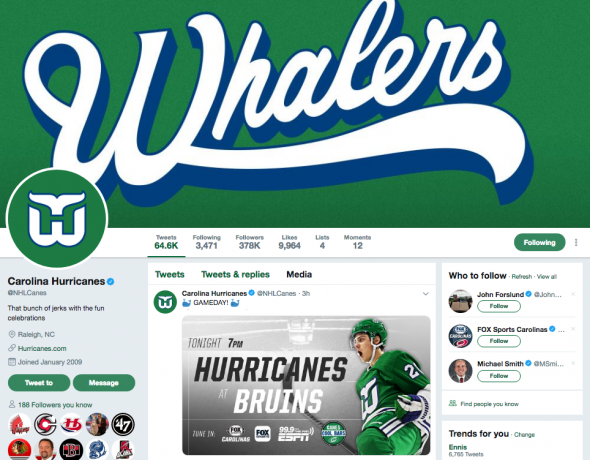 Canes to Wear Hartford Whalers Uniforms Tonight in Boston