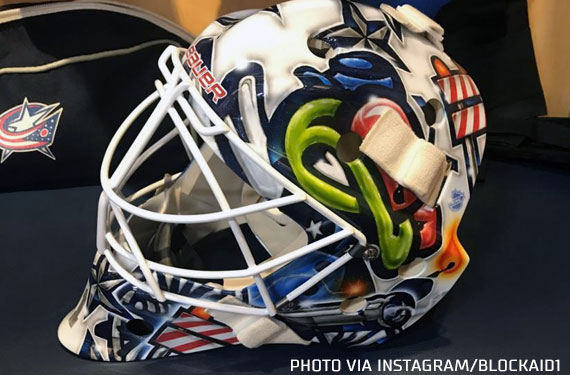 Retro Stinger Logo Returns On New Blue Jackets Goalie Mask Chris