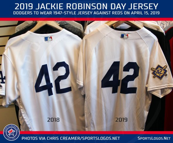 big sale f5dbd 10109 Dodgers Throwback Uniforms, Everyone in 42 for Jackie ...