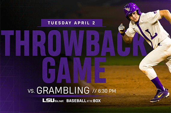 LSU Baseball to Wear Throwback Uniforms Against Grambling