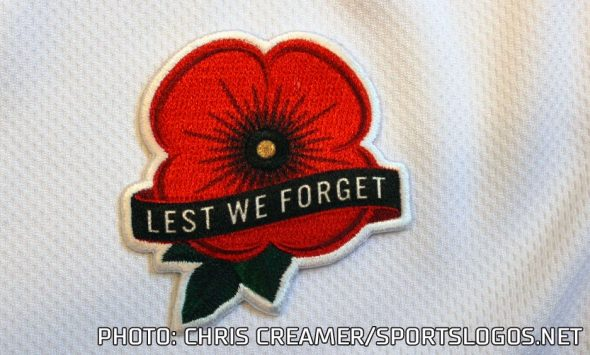 """95a695b0d41fa A simple poppy patch with the words """"Lest We Forget"""" will be worn on the  upper left part of the jersey and a Memorial Day patch will be added to the  sides ..."""