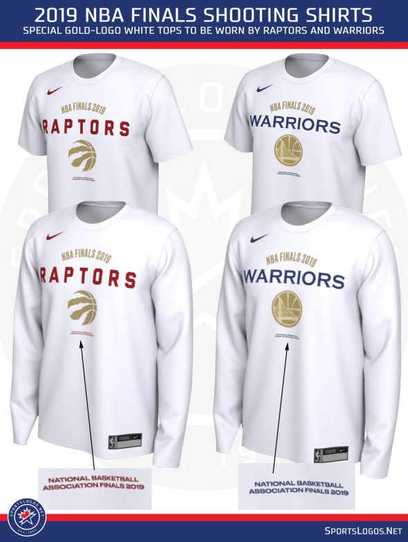 "ae68b126eb7d Both club's shooting shirt follows the same template, white with the team  logo on the front in gold, ""NBA FINALS 2019"" added above the team name."