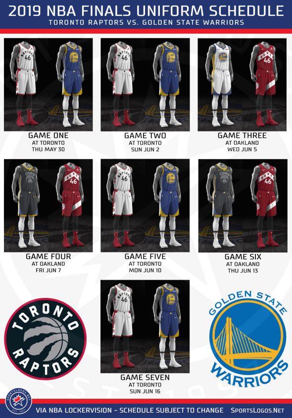 meet bb282 cdd7c 2019 NBA Finals Uniform Schedule: Raptors vs Warriors ...
