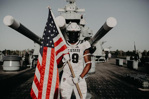 """b1f355643ad N.C. State Unveils """"Stealth Wolf"""" Military Appreciation Uniform ..."""