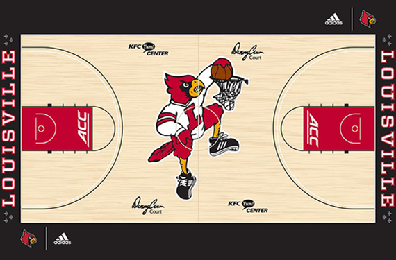 Louisville Adds Dunking Cardinal Logo To Basketball Court