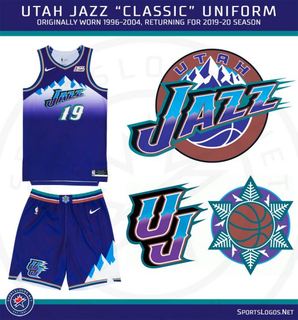 buy popular 54ad5 4b30e Utah Jazz Throw Back to 90s With Classic Uniforms and Court ...