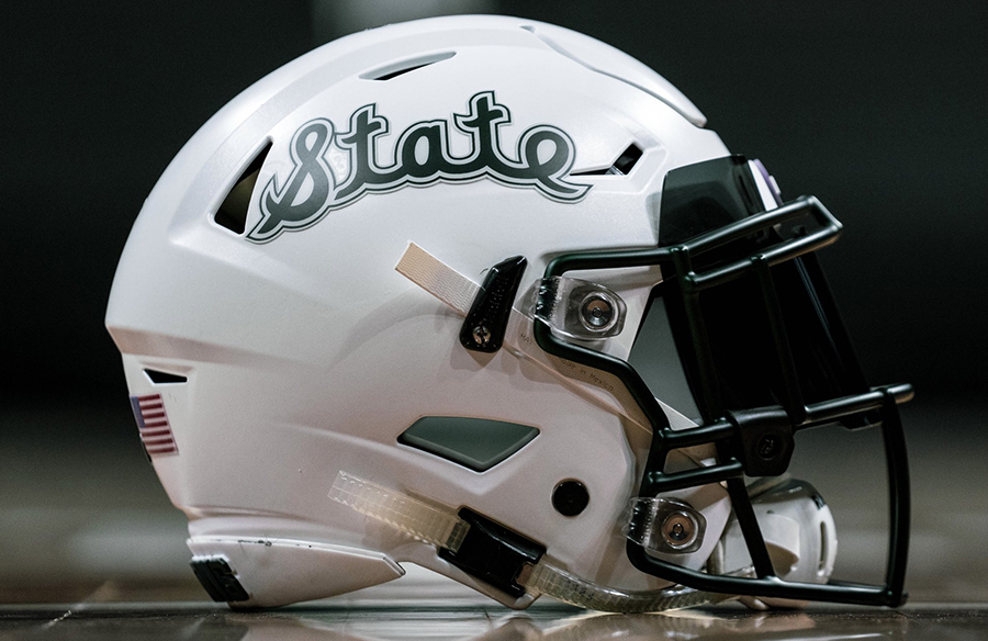 "Michigan State Spartans Unveil Script ""State"" Helmets"