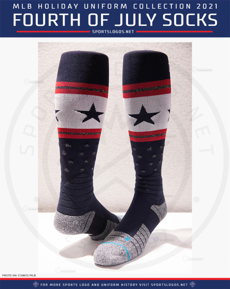 This image has an empty alt attribute; its file name is 2021-fourth-of-july-independence-day-socks-baseball-stars-and-stripes-socks-sportslogosnet-2021-750x943.jpg