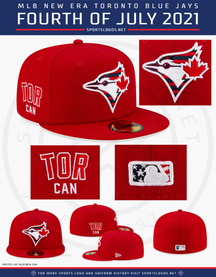 This image has an empty alt attribute; its file name is 2021-mlb-toronto-blue-jays-fourth-of-july-independence-day-canada-day-stars-and-stripes-caps-baseball-holiday-2021-sportslogosnet-details-750x962.jpg