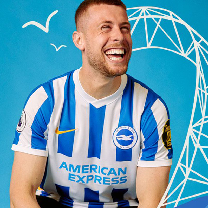 Brighton & Hove Albion Debut 2021-22 Home Kit Against Manchester City