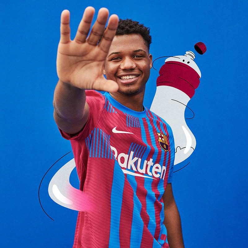 FC Barcelona's Crest Inspires  Striping Pattern for 2021-22 Home Kit