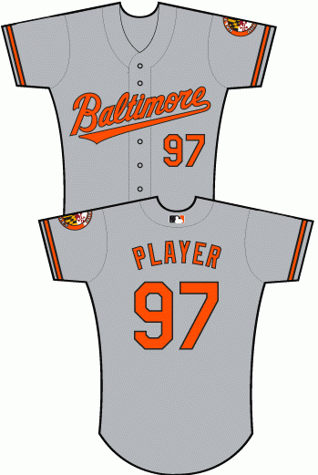 Uniforms worn for Baltimore Orioles at
